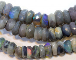 39.5 CTS  L RIDGE DARK BASE OPAL FACETED BEADS STRAND TBO-9305