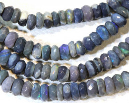 36.5 CTS  L RIDGE DARK BASE OPAL FACETED BEADS STRAND TBO-9306