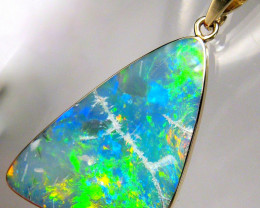 Large Australian Opal Pendant 11ct 14k Gold Genuine Inlay Jewelry Gift Gem