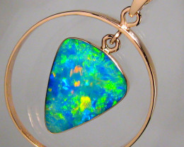 Rare Australian Opal Pendant 14kt Rose Gold Natural Jewelry 9.4ct Gift Gem