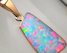 Opal Pendant 4.3ct 14k Pink Gold Genuine Australian Inlay Jewelry Gift Gem