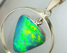 Rare Australian Opal Pendant 14kt White Gold Natural Jewelry 9.4ct Gift Gem