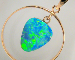 Australian Opal Pendant 14kt Pink Gold Genuine Natural Jewelry 10.2ct Gift
