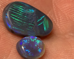 6 CTs BLACK OPALS; Beautiful Solid/Natural Lightning Ridge Black Opals, #77