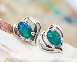 Cute Gem Opal Triplet set in Silver Earring  OPJ2161