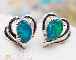 Cute Gem Opal Triplet set in Silver Earring  OPJ2163