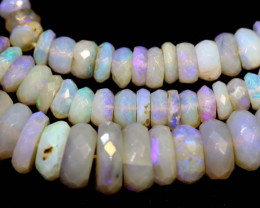 63 CTS  L RIDGE DARK BASE OPAL FACETED BEADS STRAND TBO-9323