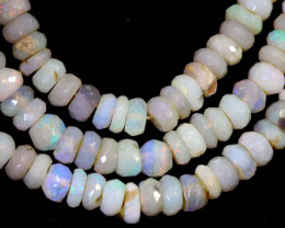 48 CTS  L RIDGE DARK BASE OPAL FACETED BEADS STRAND TBO-9325