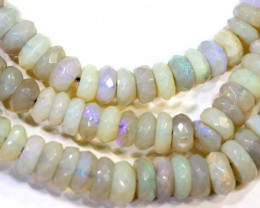 66 CTS  L RIDGE DARK BASE OPAL FACETED BEADS STRAND TBO-9327