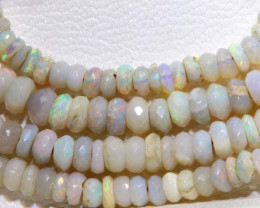 38.90 CTS  L RIDGE DARK BASE OPAL FACETED BEADS STRAND TBO-9329