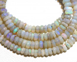 38.30 CTS  L RIDGE DARK BASE OPAL FACETED BEADS STRAND TBO-9332