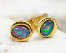 Cute Gem Opal Triplet set in Gold Plate  Earring  OPJ2154