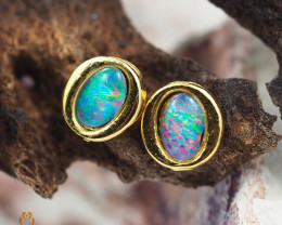 Cute Gem Opal Triplet set in Gold Plate  Earring  OPJ2155