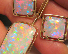 Rare Australian Solid Opal Earrings Pendant Genuine Vintage Heirloom Jewelr