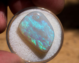 9.95 carats Lightning Ridge free form Green and blues broad flash fire