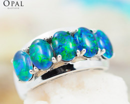 Gem Quality Triplets 10K White Gold Opal Ring - OPJ 2158