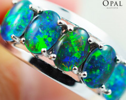 Gem Quality Triplets 10K White Gold Opal Ring - OPJ 2159