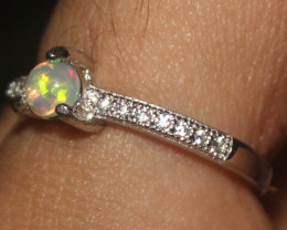 Natural Ethiopian Welo Opal 925 Silver Ring Size (6 US) 58