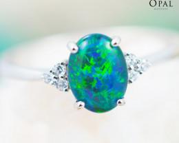 Opal Triplet set in Silver Ring size 6.5 - 4 - OPJ 2169