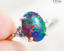 Opal Triplet set in Silver Ring size 6.5 - 4 - OPJ 2170