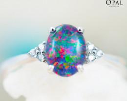 Opal Triplet set in Silver Ring size 6.5 - 4 - OPJ 2171