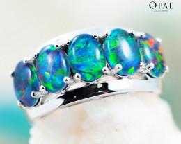 Opal Triplet set in Silver Ring size 6.5 - OPJ 2181