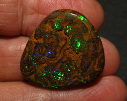 Beautiful Boulder Opal Matrix with bright Green and blue color 33 Carats 28