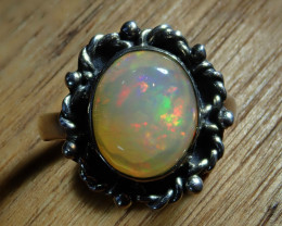 6sz Bright Solid Natural Multicoloured Opal .925 Silver Ring