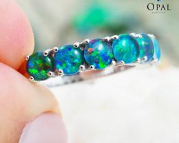 Opal Triplet set in Silver Ring size 7.0 - 10 - OPJ 2190
