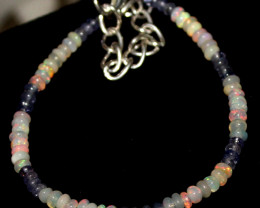 12 Crts Natural Welo Opal & Tanzanite Beads Bracelet 481