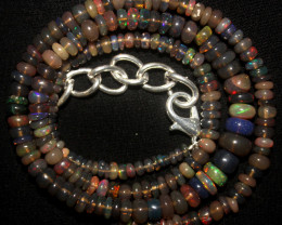 38 Crts Natural Ethiopian Welo Smoked Opal Beads Necklace 138