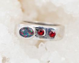 Australian Opal n Garnet Silver Ring OPJ 2221