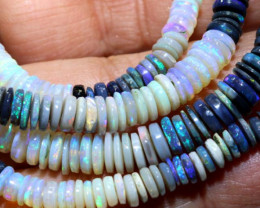 99 CTS  L RIDGE DARK BASE OPAL BEADS STRAND TBO-9513