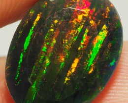 5.45CT ETHOPIAN 'PYJAMA PATTERN' FACETED TREATED OPAL WITH STUNNING PATTERN