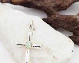 Australian  Crystal  Opal in Silver Cross Pendant OPJ 2235