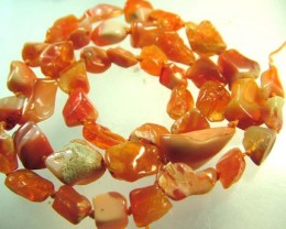 NATURAL FIREY MEXICAN OPAL BEADS [BU305]  63.5CTS