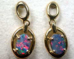 RED SPARKLING FIRE DOUBLET OPAL 18K GOLD EARRINGS SCA362