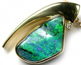 BRILLIANT RICH GREEN FIRE BOULDER OPAL 18K PENDANT SCA385