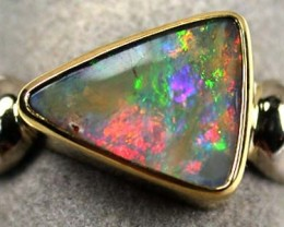 SUNSET RED BOULDER OPAL 18K WHITE GOLD RING SIZE 8 SCA400