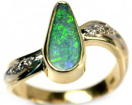 STUNNING MULTI FIRE BLACK OPAL 18K GOLD RING SIZE 7 SCA402