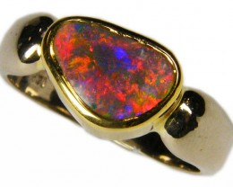 EXCITING FIRE RED BLACK OPAL 18K GOLD RING SIZE 10 SCA407