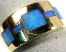 BEAUTIFUL SEA BLUE OPAL INLAY 18K GOLD RING SIZE 9.5 SCA408