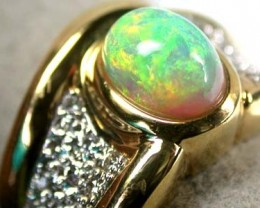 DELIGHTFUL FIRERY CRYSTAL OPAL 18K GOLD RING SIZE 7 SCA410