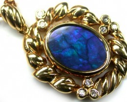 GORGEOUS BLUE FIRE BLACK OPAL 18K GOLD PENDANT  CTS SCA417