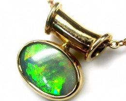 ILLUMINATING FIRE BLACK OPAL 18K GOLD PENDANT 2.5 CTS SCA425