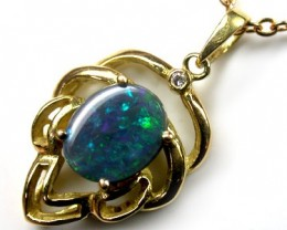 SPARKLING GREEN FIRE BLACK OPAL 18K PENDANT 1.10 CTS SCA439