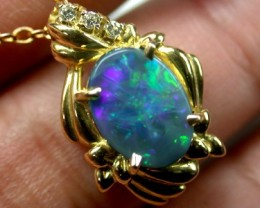 DAZZLING GREEN FIRE BLACK OPAL 18K GOLD PENDANT 2 CTS SCA441