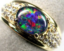MULTI FIRE TRIPLET OPAL GOLD PLATED RING SIZE 7 SCA453