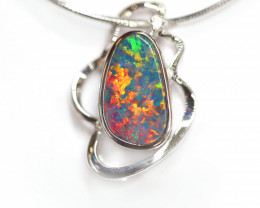 Opal Doublet LIGHTNING RIDGE 925 Silver Rhodium Plated Pendant [CP14]