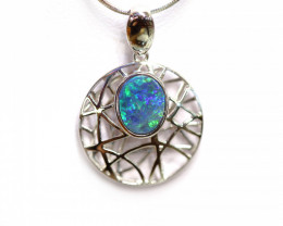 Opal Doublet LIGHTNING RIDGE 925 Silver Rhodium Plated Pendant [CP40]